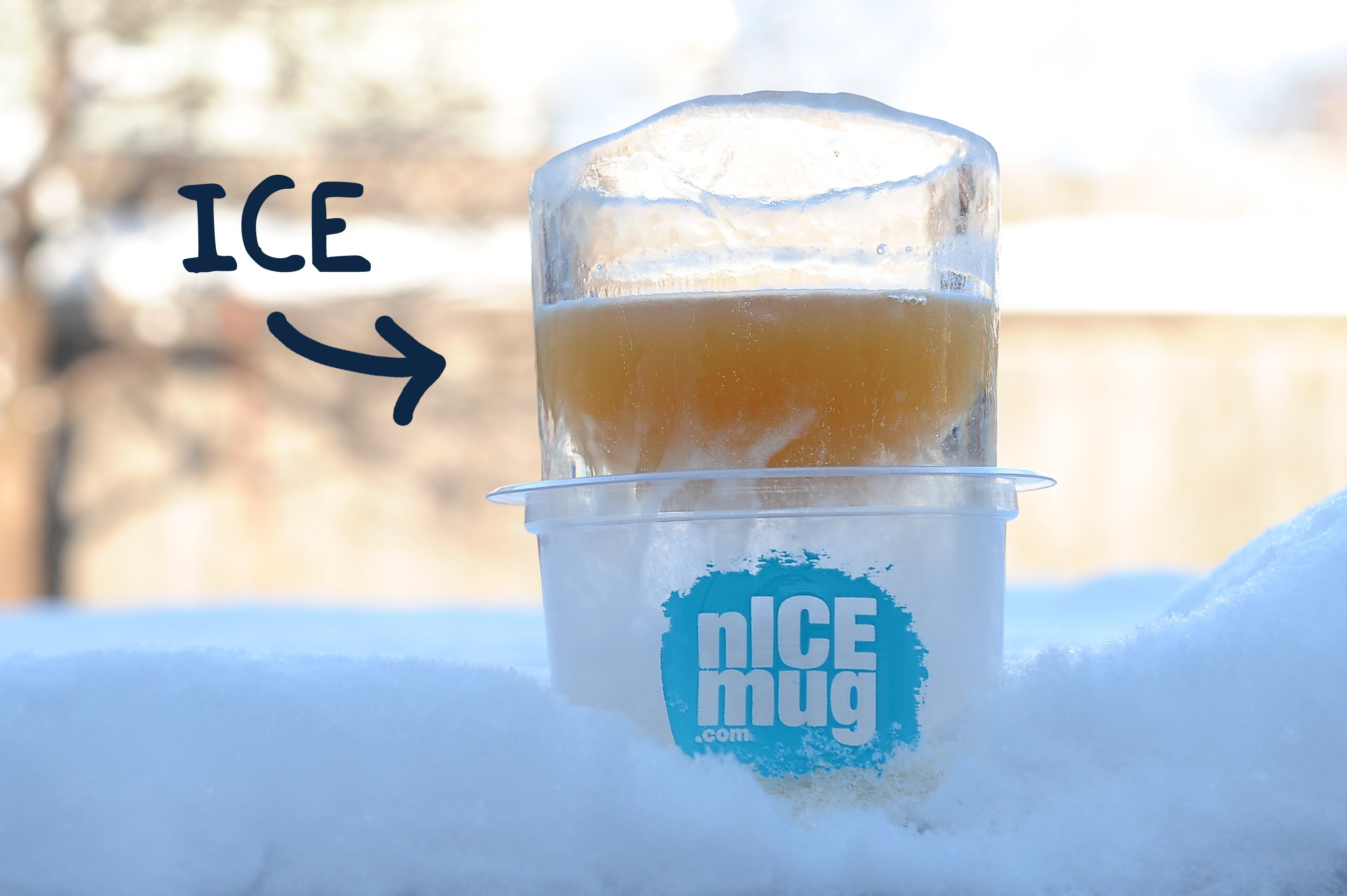 nICE mug: a drinking glass made entirely out of ice.  A wonderful cold partner for your hot sauna.