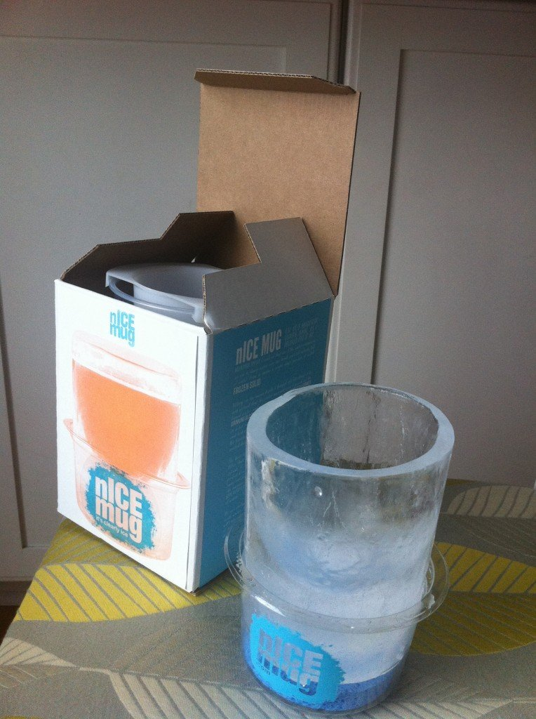 The new retail box.  put the mold in the box and freeze.  Crystal clear nICE mugs.