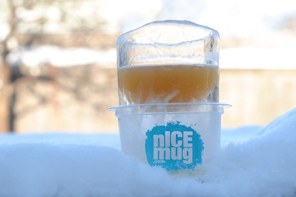 An ice glass in the snow.