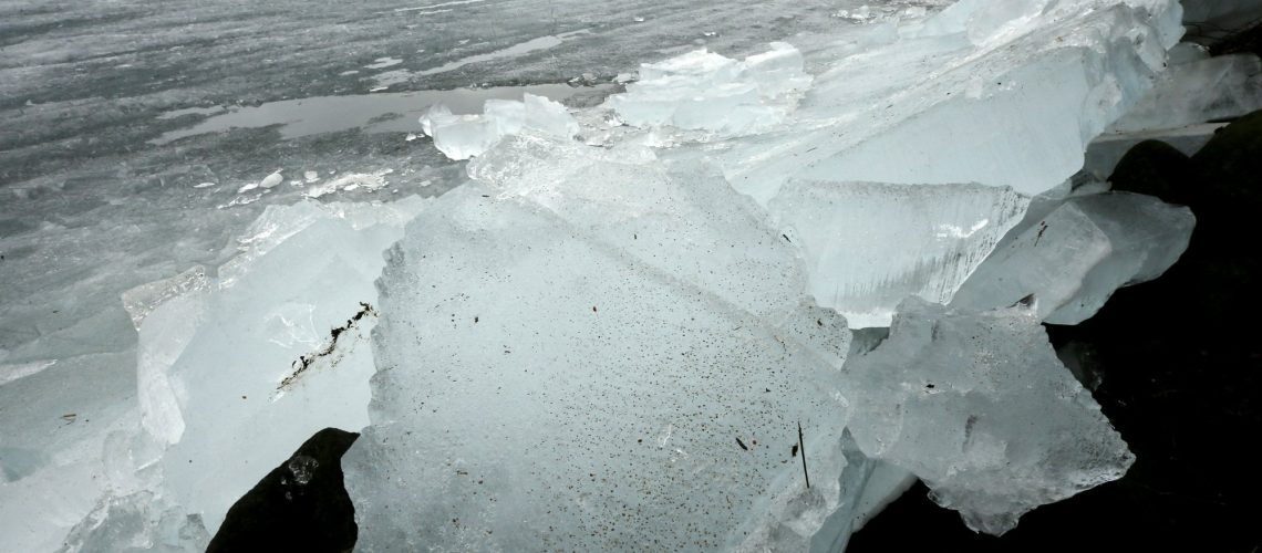 ice building up on the shores of Mille Lacs Lake, Central Minnesota.