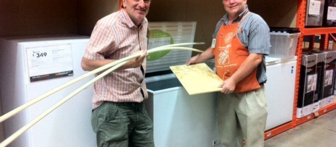 finding the pieces to make shelves for freezers at Home Depot.